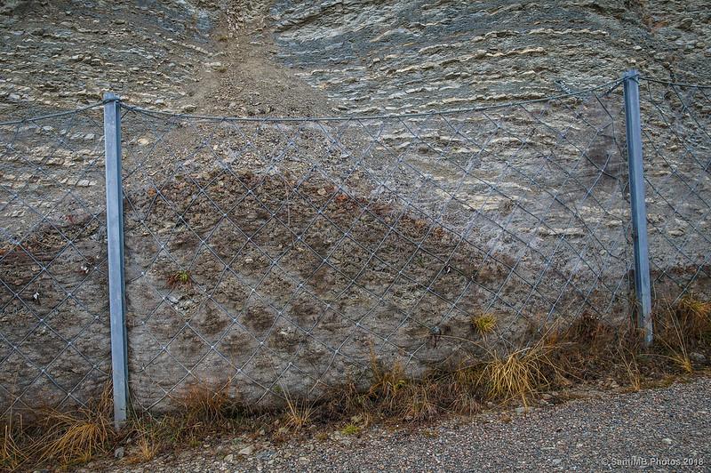 Alambrada de contención de rocas en la Vía del Nicolau