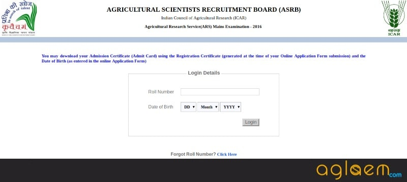 ASRB NET Admit Card 2018 (www.asrb.org.in)   Download Here