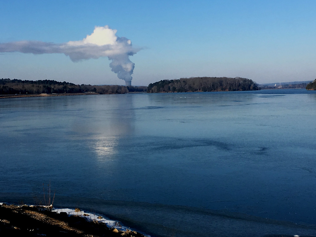 Today's photo: Vapor plume from Arkansas Nuclear One Unit 2 Cooling Tower in 14°F air, Illinois Bayou area of Lake Dardanelle icing over, from Lake Front Drive pullout, Russellville, Arkansas; 9:26 AM, January 17, 2018 (Apple iPhone 6s)