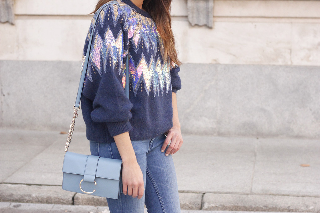 f9612d2b98e9e ... blue sequin sweater ripped jeans carolina herrera pink heels uterqüe  bag winter outfit 201801 | by
