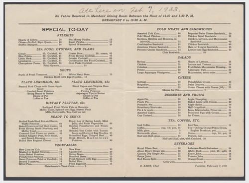 A sample House of Representatives restaurant menu: 1933 | by Washington Area Spark