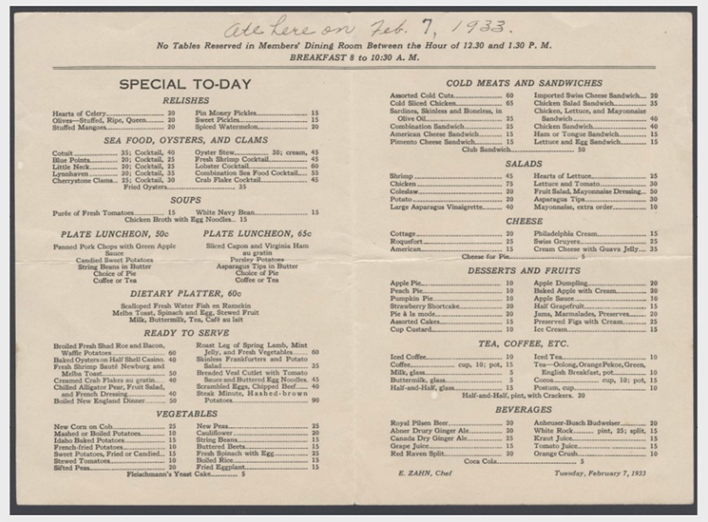 a sample house of representatives restaurant menu 1933 flickr