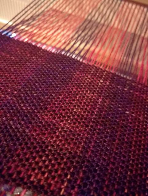 Sock yarn scarf weaving in progress