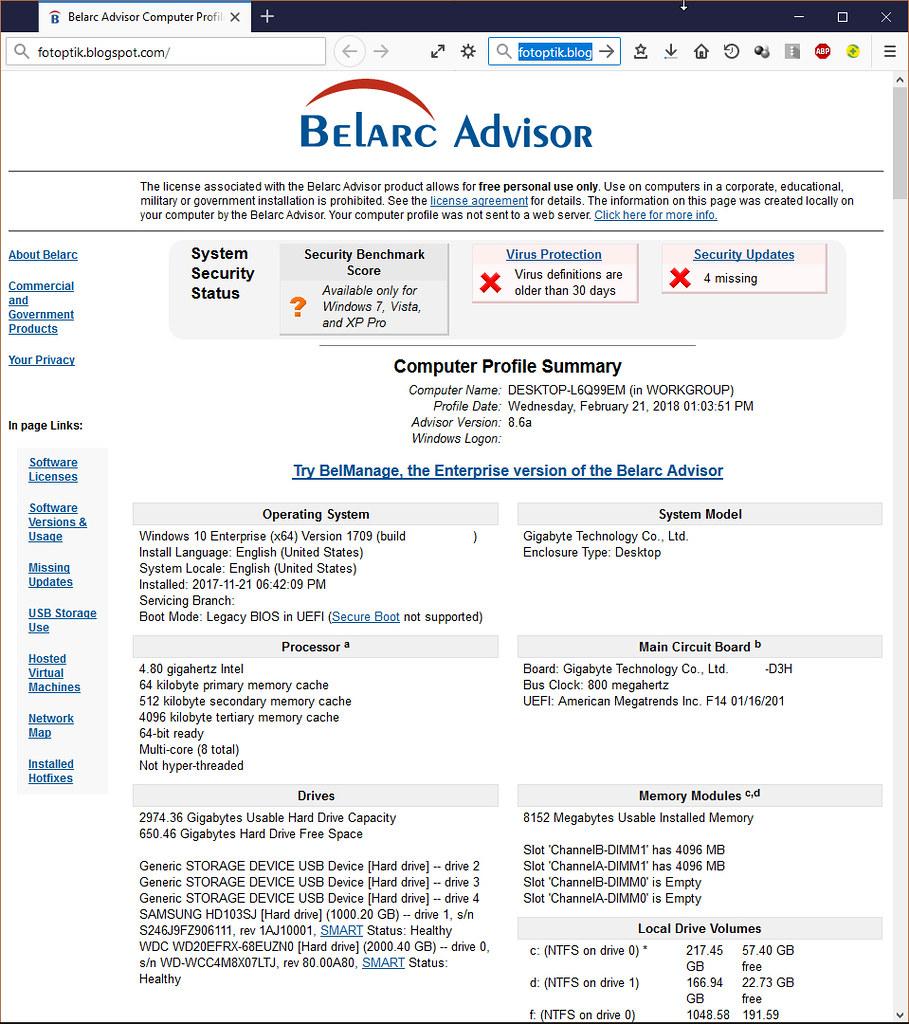 Belarc Advisor v8.6a ile bilgisayarınızda yüklü yazılımları ve donanımları detaylı olarak görün