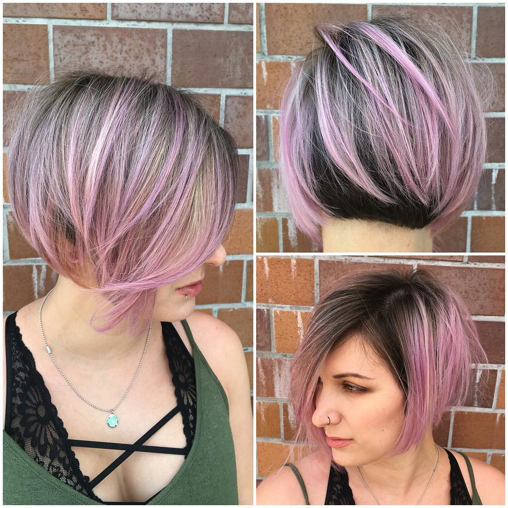 angled undercut bob with brunette and pink two tone color flickr