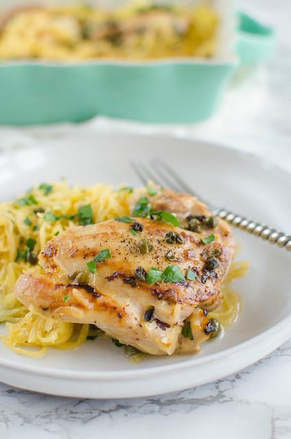 Spaghetti Squash Chicken Piccata