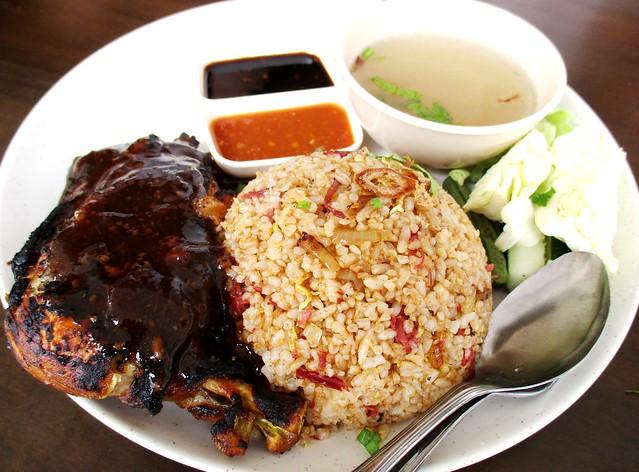 La'zzaty Cuisine corned beef fried rice & ayam bakar