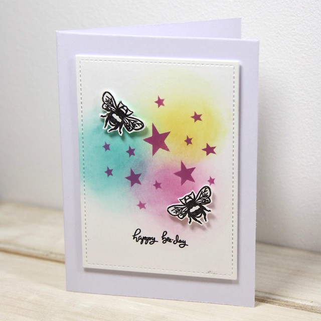 How to use Distress Oxides – technique 1 – stencilling - finished Bee Garden card