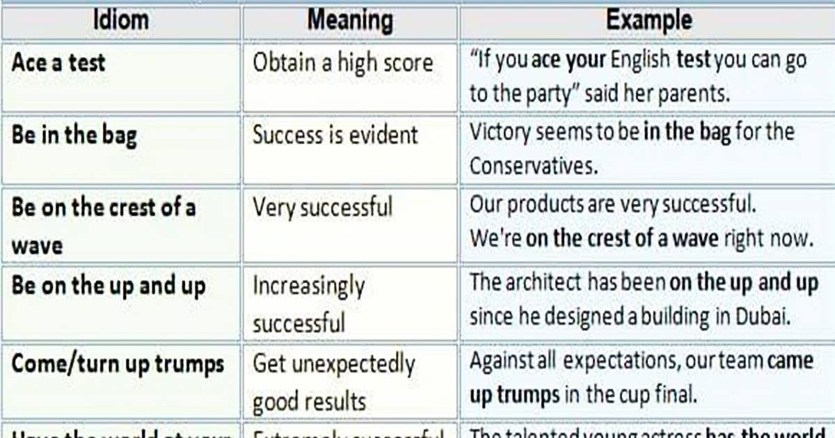 Useful English Idioms about SUCCESS 5