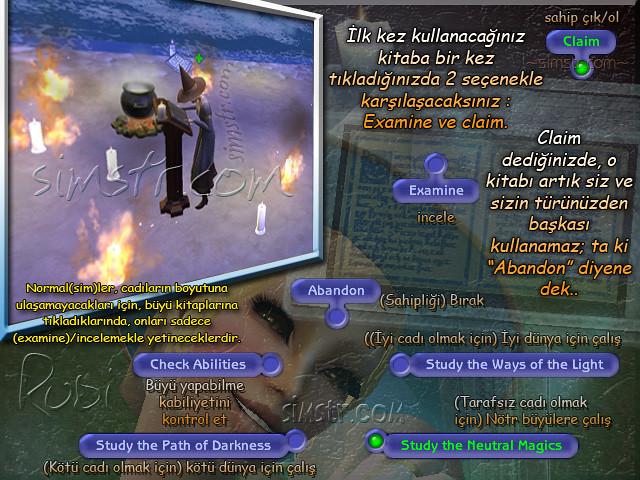 The Sims 2 Apartment Life Apartman Hayatı Witchiness Spellbook Cadılık Büyü Kitabı ile Çalışmak Grimoire Abandon Study the Neutral Magics Ways of the Light Path of Darkness