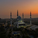 An Aerial view of Shah Alam Mosque during sunrise