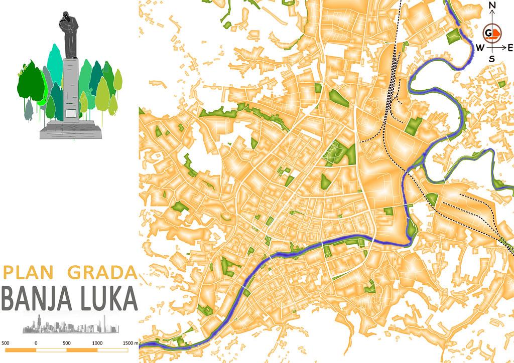Banja Luka city map Banja Luka is a second largest city Flickr