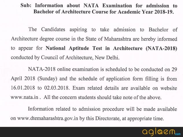 DTE Maharashtra Architecture Admission 2018