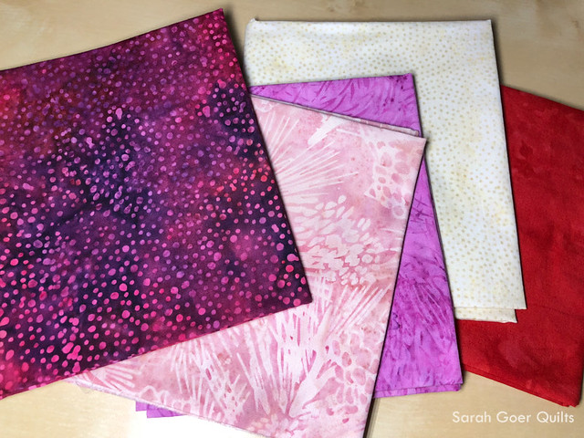 #islandbatikambassador Valentine's Day palette of Island Batiks with purples, pinks, cream, and red