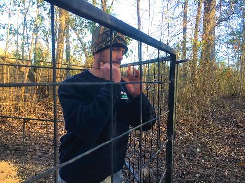 Clay Stroud setting up a feral swine trap in Alabama
