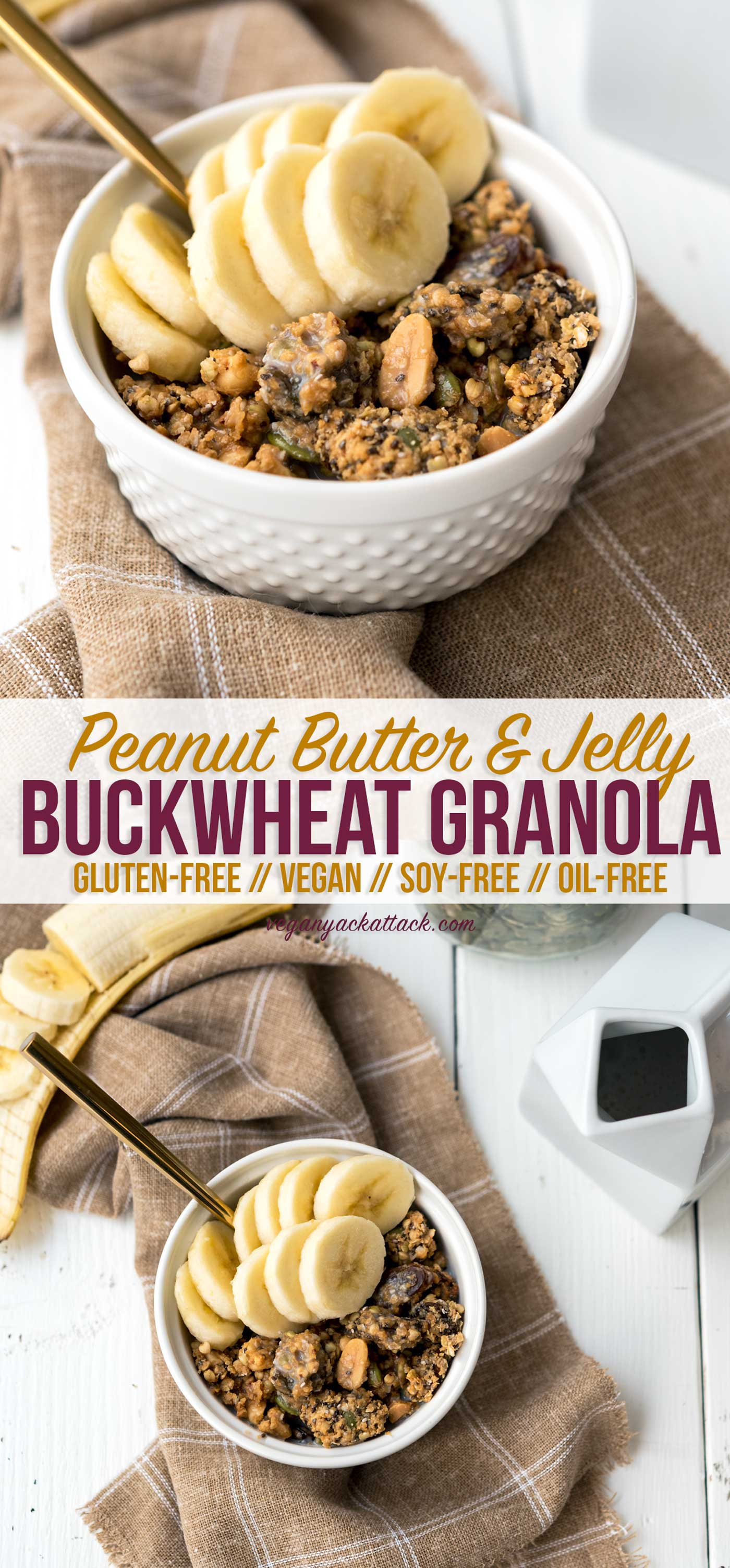 This snack is anything but boring! PB&J Buckwheat Granola, that's oil-free and gluten-free. Plus, it's a great way to empty out some of your pantry! #vegan #glutenfree #oilfree