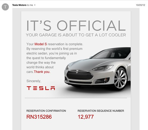 Tesla Reservation Screen from '13 | by geremology