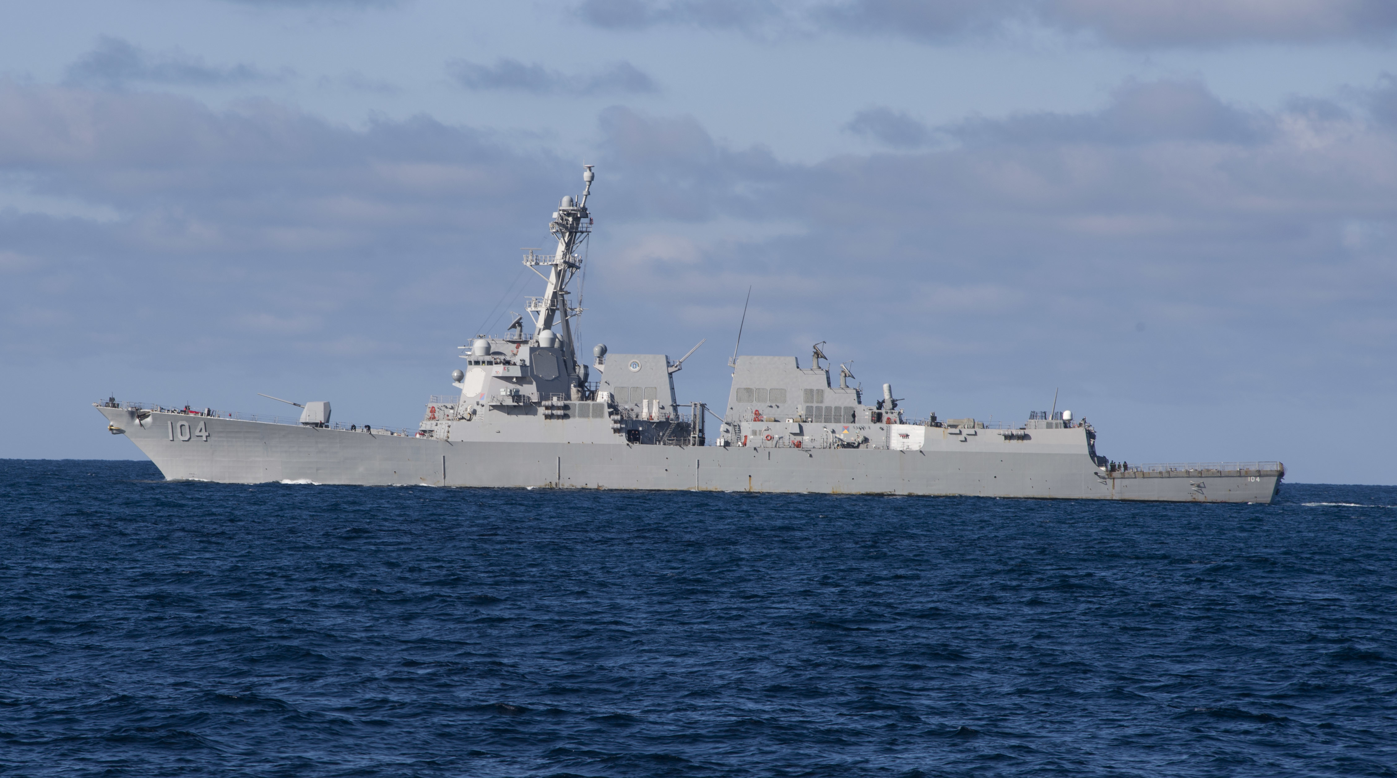PACIFIC OCEAN – San Diego-based Arleigh Burke-class guided-missile destroyer USS Sterett (DDG 104) entered the U.S. 7th Fleet area of operations on March 3.