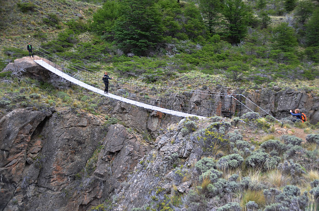 Crossing the bridge, Parque Patagonia, Patagonia, Chile