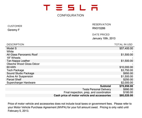 Tesla Purchase Order from '13 | by geremology