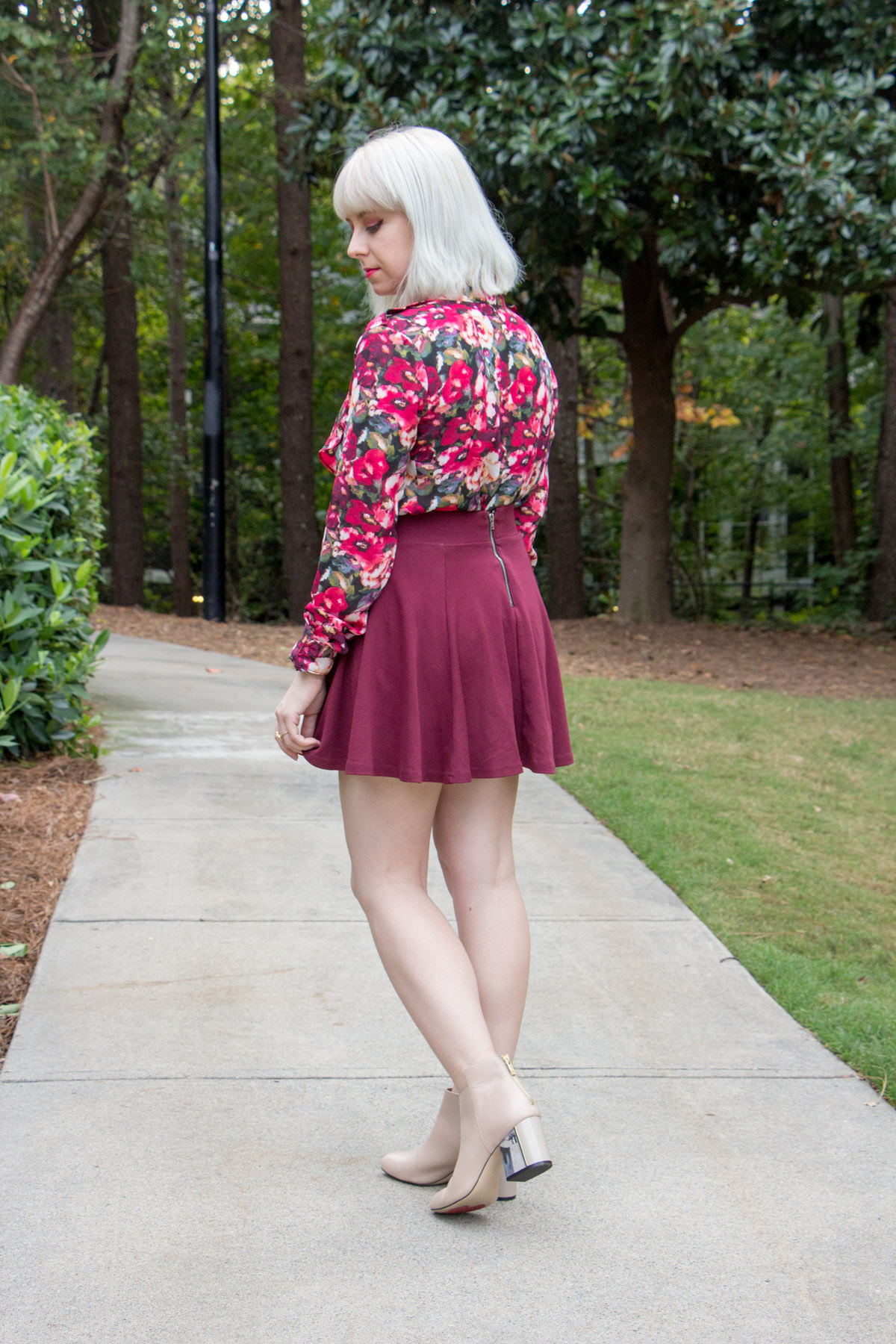 Maroon Skater Skirt from H&M, Floral Forever 21 Button Down and Nude Boots