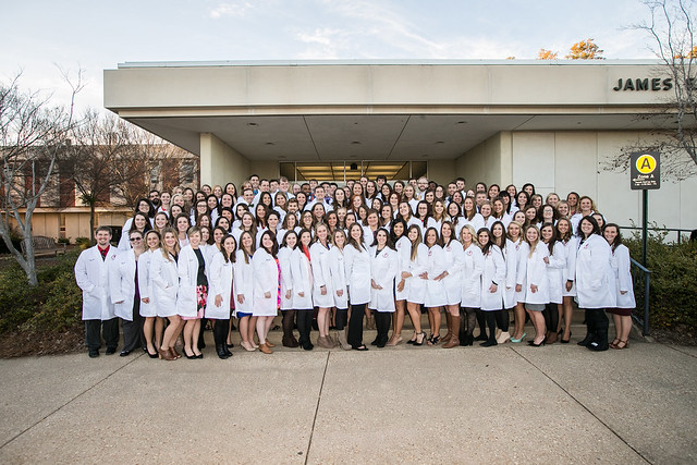 Pictured are members of the Class of 2018 after last year's White Coat Ceremony
