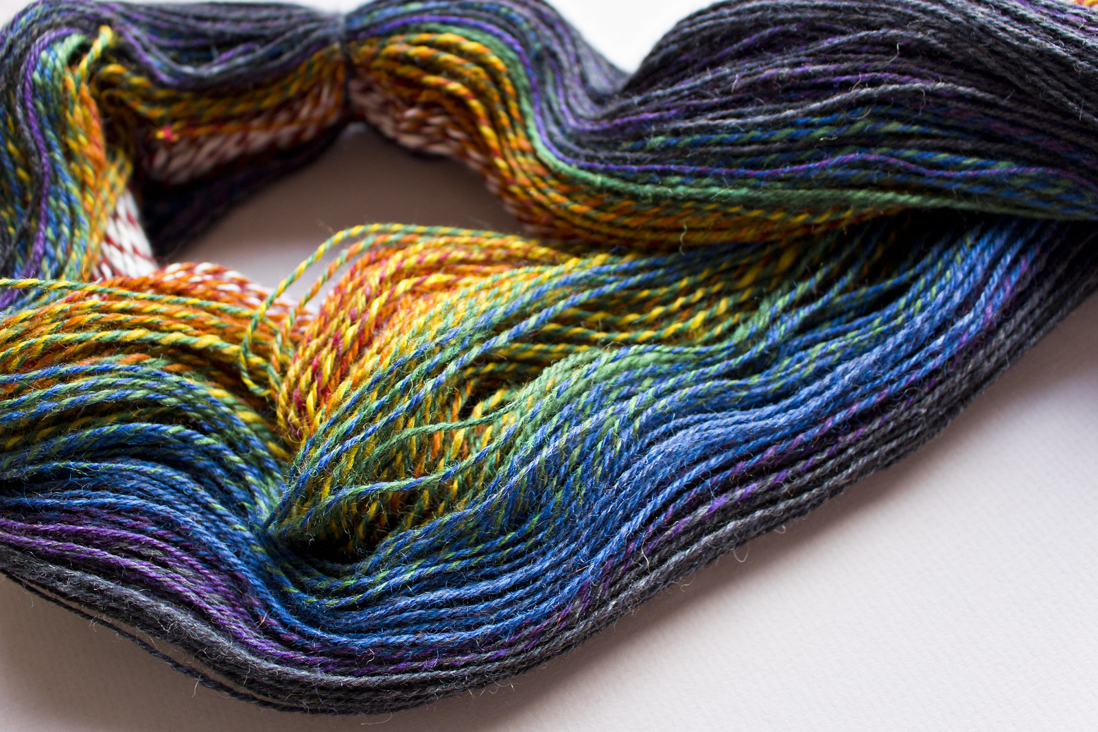 Handspun yarn in rainbow hues