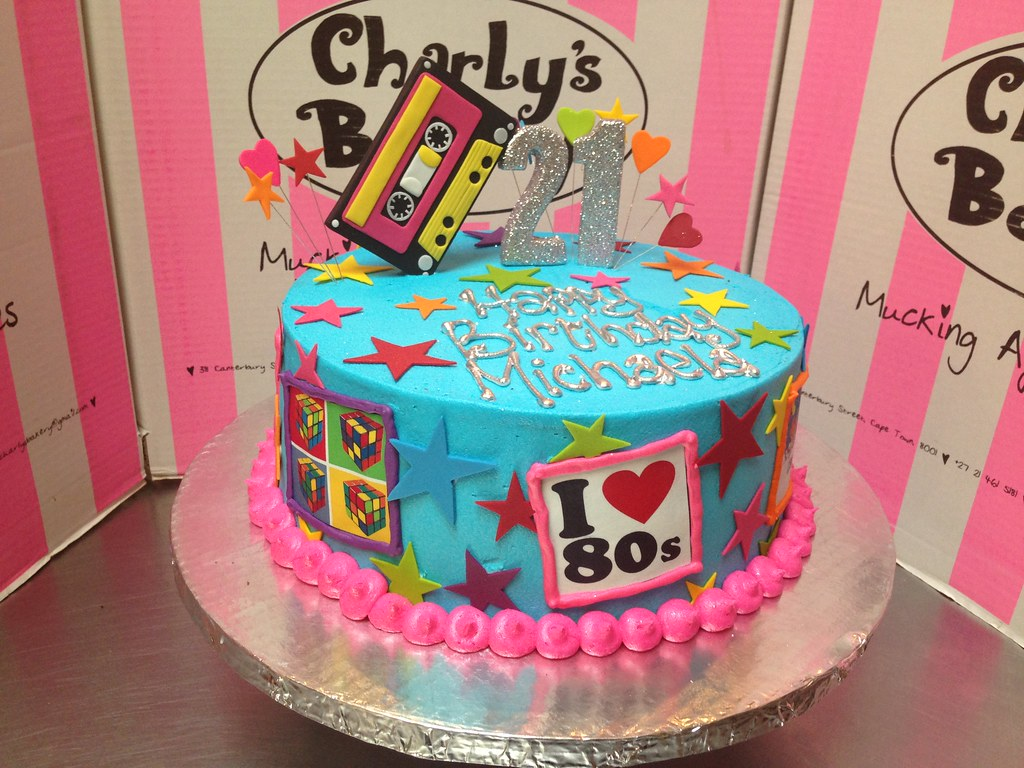 80s Themed 21st Birthday Cake With 3D Mixtape Topper