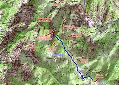 Carte IGN du secteur Carciara - Punta Rossa avec les tracés des chemins du Carciara et de Paliri et le chemin du Carciara aval HR21 en bleu