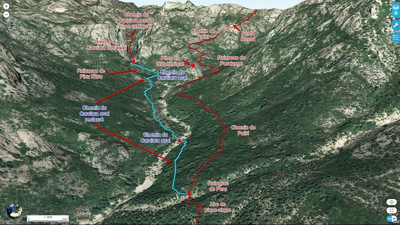 Photo 3D de la partie aval du Carciara avec le tracé de l'ancien chemin d'exploitation (HR21)