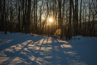 Sunset on Snowy, Wooded, Mountain Homestead | by goingslowly