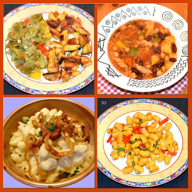 Fleischlos glücklich. Vier vegetarisch-deftige Gerichte, die uns in den letzten Wochen gut geschmeckt haben: Grüne Knoblauchbohnen mit Bratkartoffeln - Kidney- und weiße Bohnen mit Spirelli, Kartoffeln, Gemüse und Tomaten - Käseknöpfli mit gebratenen Zwiebeln - Kürbis-Gnocchi mit Butter und buntem Paprika.