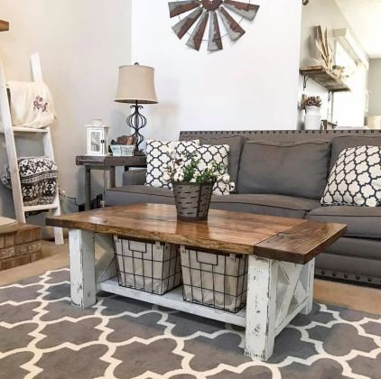 By The Living Room : 58 Rustic Farmhouse Living Room Decor Ideas... | By The