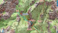Carte IGN de la partie amont du Carciara avec le tracé de l'ancien chemin d'exploitation (HR22)