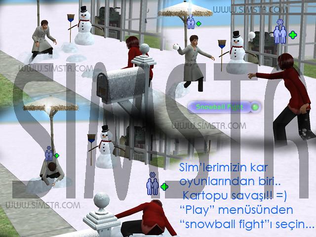 The Sims 2 Seasons Snowball Fight Kartopu Savaşı