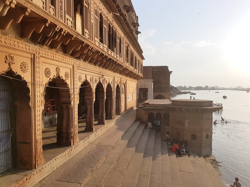 Steps of the Kesi Ghat leading down to the Yamuna River