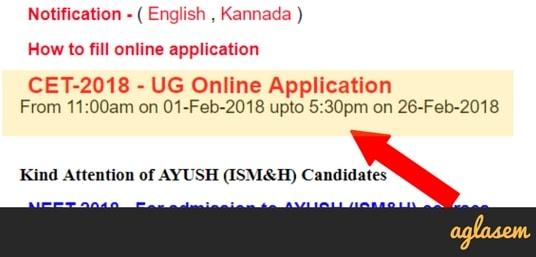KCET 2018 application form