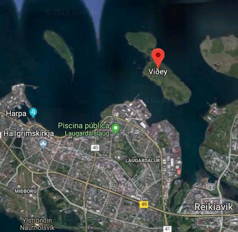 Mapa de situación de la isla de Viðey en Islandia