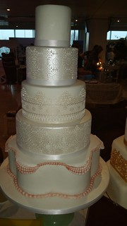 Five tiered lace lustres lace wedding cake | by platypus1974