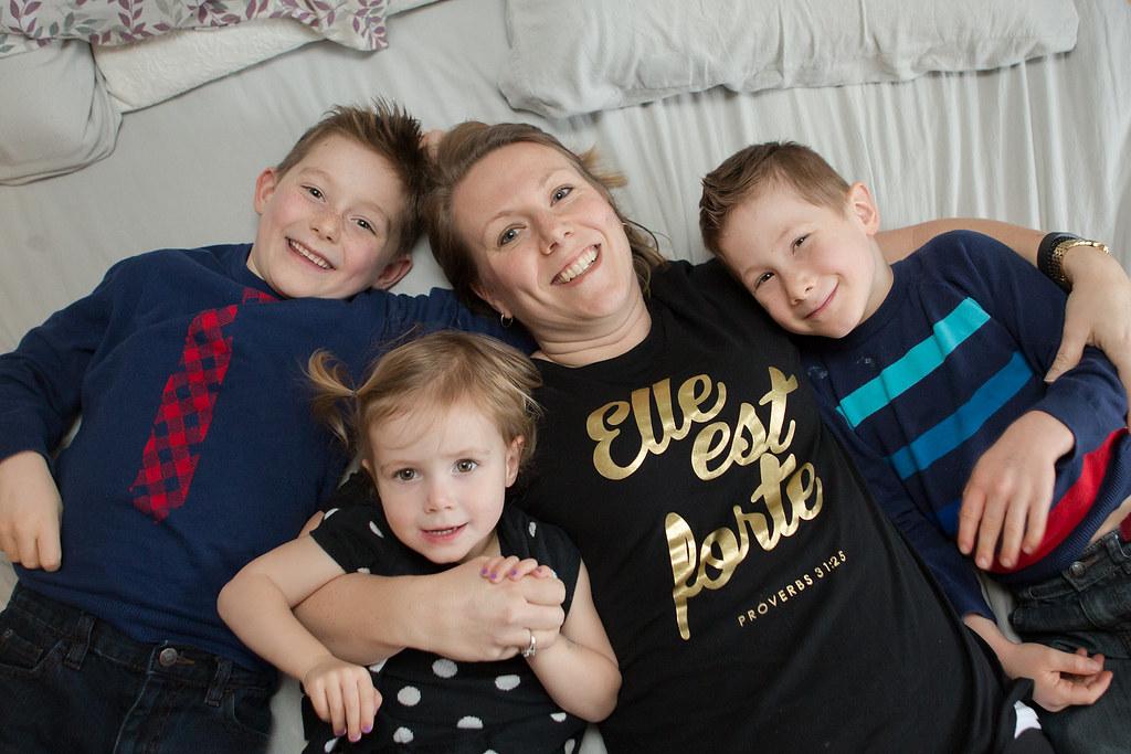 Photo of mom with three kids