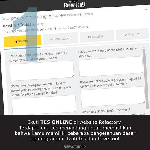 Ikuti tes online di portal Refactory, ada dua tes menantang untuk memastikan kamu mengetahui dasar pemrograman. Have fun
