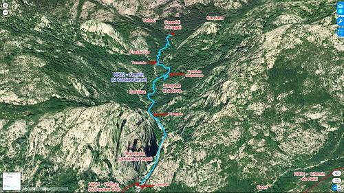 Photo 3D de la partie amont du Carciara avec le tracé de l'ancien chemin d'exploitation (HR22)