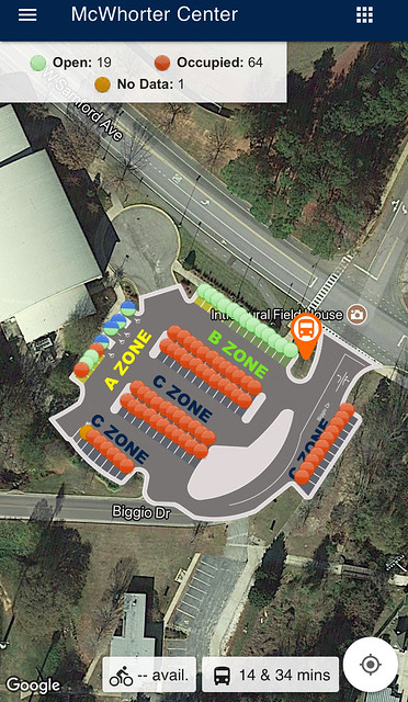 Parking spaces on War Eagle Parking app