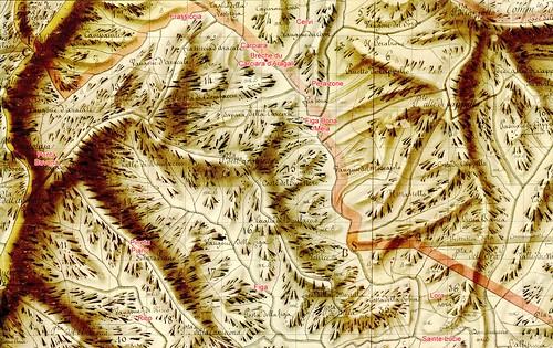 Plan Terrier Rouleau 33 avec  extrait de la région du Carciara et du Peralzone. Aucun chemin n'y est marqué.