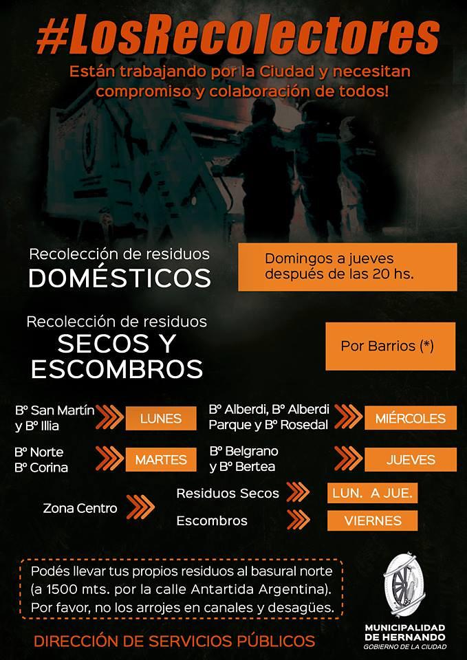 «LOS RECOLECTORES»: HORARIOS