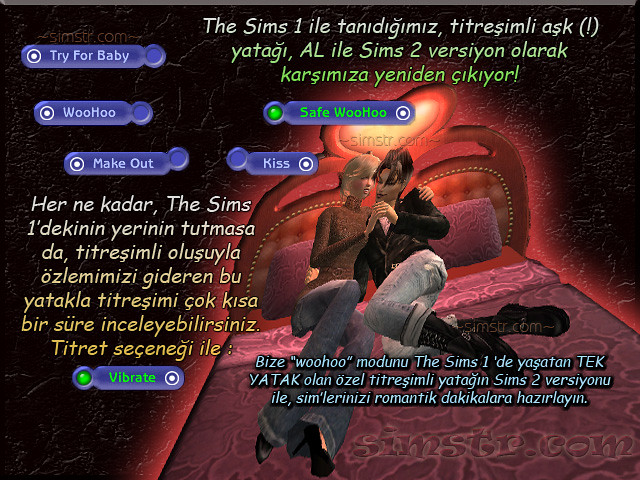 The Sims 2 Apartment Life Apartman Hayatı Vibrated Bed Woohoo Vibrate Titreşimli Yatak
