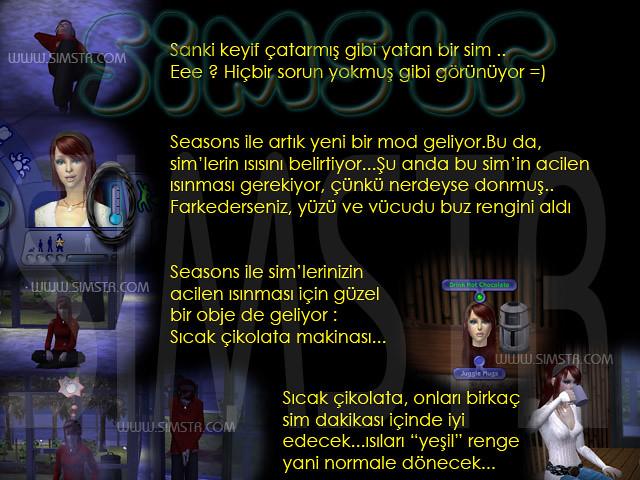 The Sims 2 Seasons Frozen Sim Donmuş Sim Drink Hot Chocolate Sıcak Çikolata