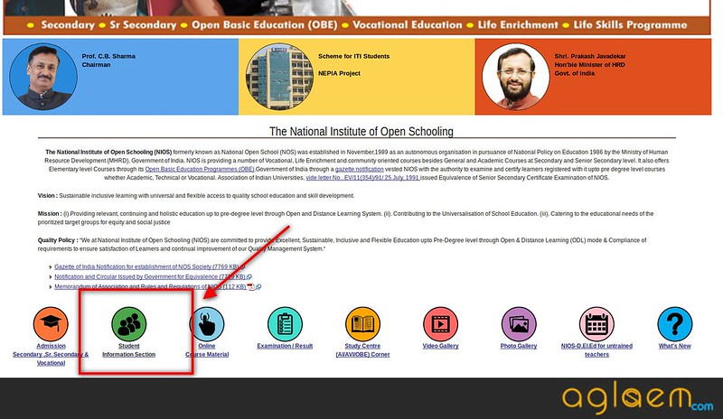 NIOS Practical Exam Admit Card April 2018