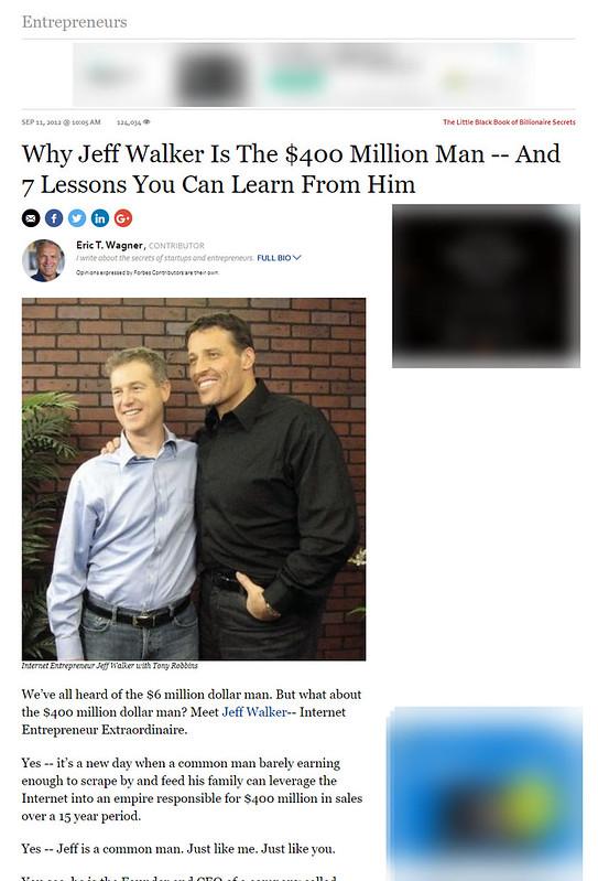 ジェフ・ウォーカーが、世界有数の経済誌フォーブス(Forbes)に取り上げられた記事