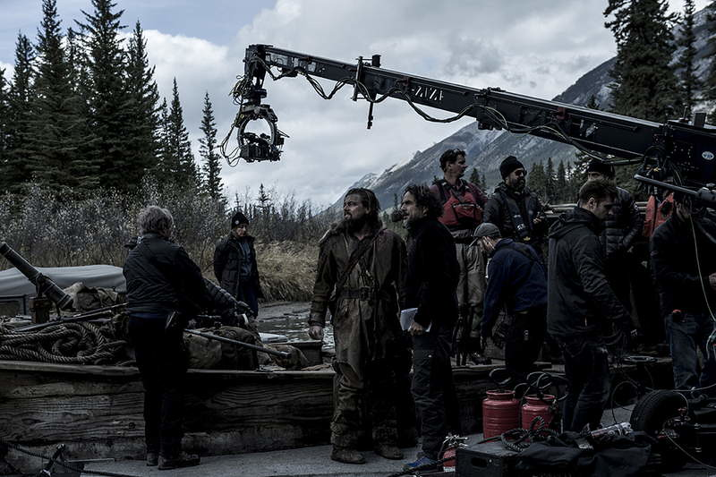 Cast, crew and crane in The Revenant set